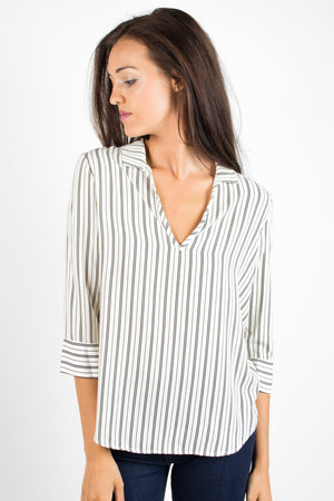 Striped Collar V Blouse - Savoir-Faire | Women's Clothing Boutique