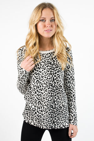 Animal Print Thermal Crew Neck Long Sleeve - Savoir-Faire | Women's Clothing Boutique