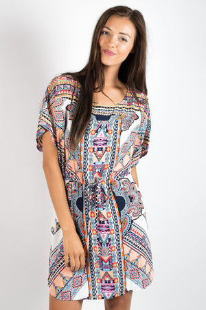 Glam Geo Western Drawstring Dress - Savoir-Faire | Women's Clothing Boutique