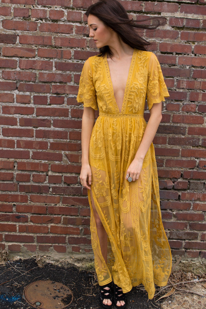 Chloe Yellow Lace Maxi Dress Savoir Faire Women S