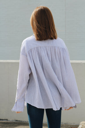 Well Wishes Button Front Bell Sleeve Blouse
