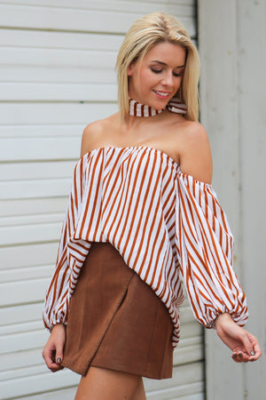 Falling Autumn Striped Choker Top - Savoir-Faire | Women's Clothing Boutique