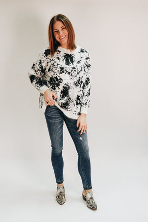 Wild One Black and White Printed Sweater