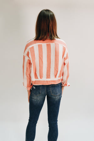 A Little Bit Of Love Striped Button Blouse