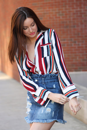 Chasing Rubies Striped Blouse