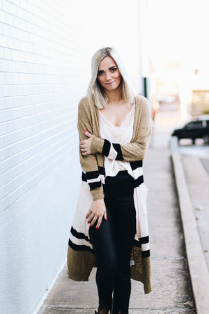 Different Vibes Color Block Striped Duster Cardigan