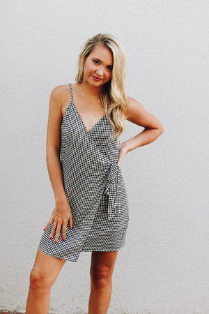 Back In The Day Black Gingham Wrap Dress