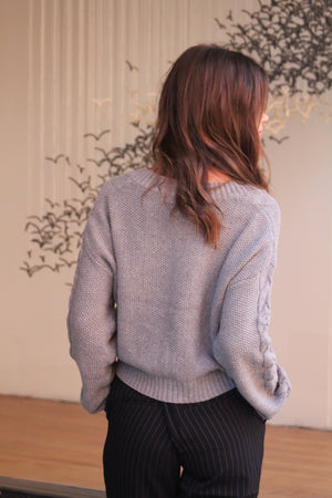 Chilly Weather Cable Knit V Neck Sweater