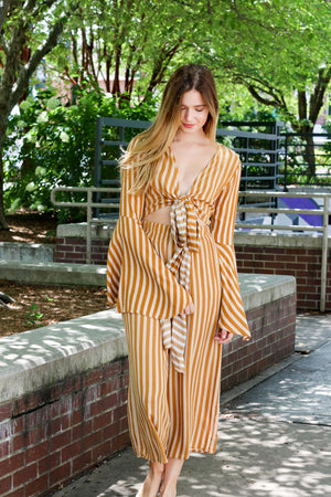 Back In Season Striped Wrap Top