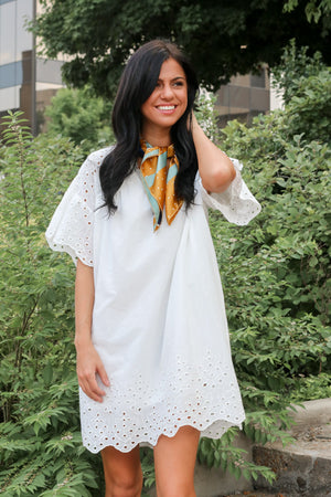 Can't Help Myself Eyelet Bell Sleeve Dress