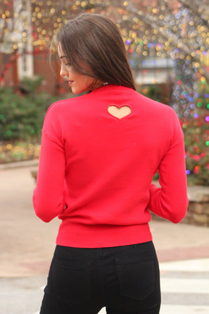Better off Red Heart Cut Out Sweater