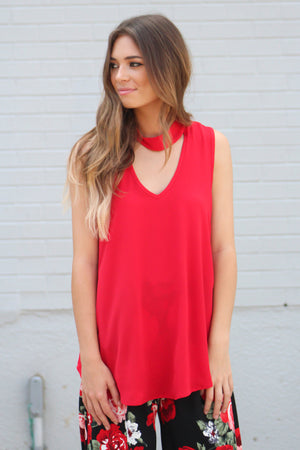 Direct Route Choker V Neck Top - Savoir-Faire | Women's Clothing Boutique