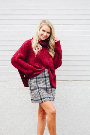 Soft Focus Chenille Sweater Raspberry