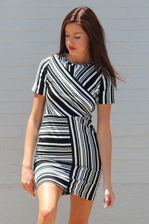 Contradicting Lines Striped Sheath Dress