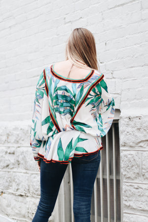 Wandering Around Kimono Sleeve Leaf Top