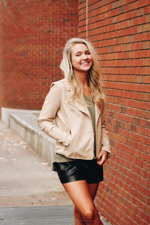 Blank NYC Natural Light Leather Jacket