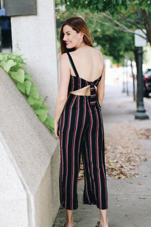 Better Late Than Never Striped Jumpsuit