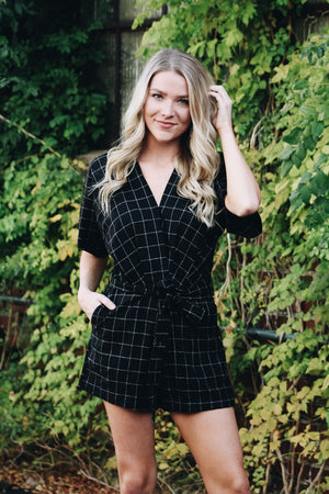 All The Right Ways Deep V Grid Romper
