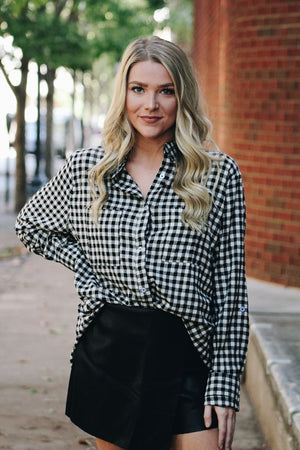 Over You Gingham Plaid Button Up Top
