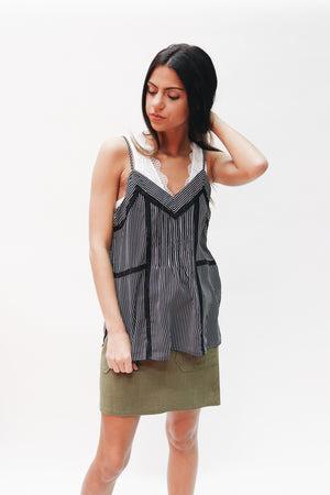 The New Girl Striped Pintuck Detailed Tank