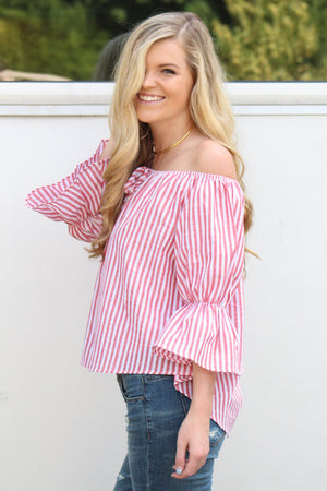 Bold Strokes Off the Shoulder Top - Savoir-Faire | Women's Clothing Boutique