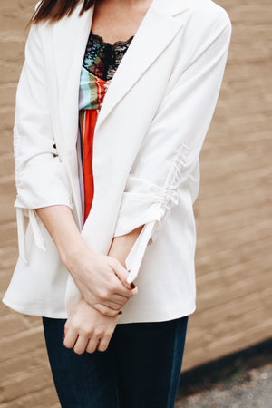 Eyes On You Ruched Sleeve Blazer Jacket