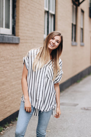 For The Love Of Stripes Button Top