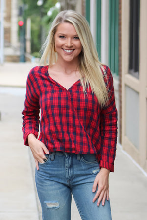 Growing Pains Plaid Print Wrap Top