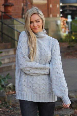 Cable Knit Mock Neck Oversized Sweater