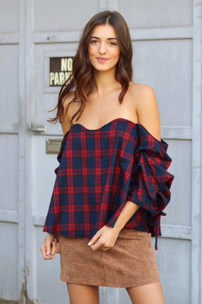 fa1bb7a3da3 Reality Check Plaid Cold Shoulder Top - Savoir-Faire