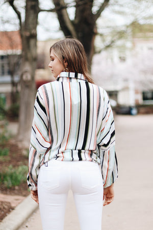 Spring Savory Multi Striped Button Blouse