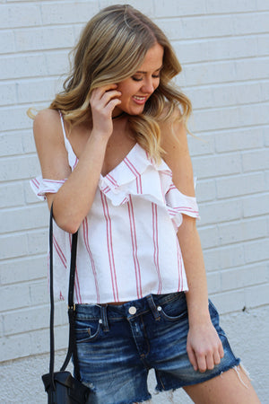Foolish Striped Cold Shoulder Top