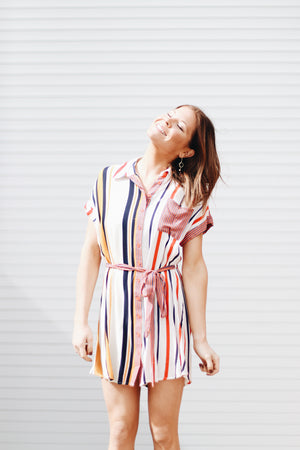 Be Fearless Colorful Striped Button Dress