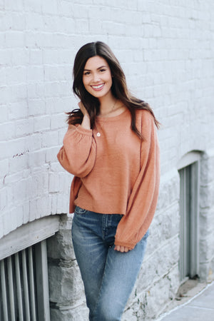 Take It Easy Bubble Sleeve Sweater