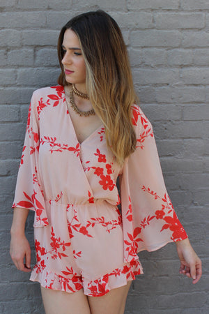 Desert Flower Bell Sleeve Romper - Savoir-Faire | Women's Clothing Boutique