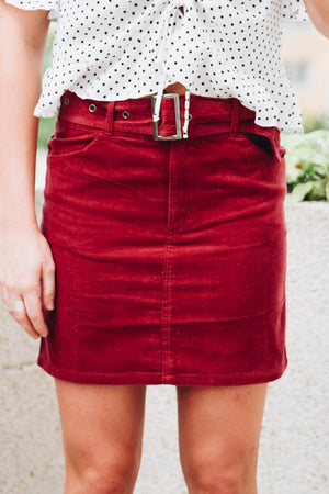 Why Don't You Suede Belted Mini Skirt
