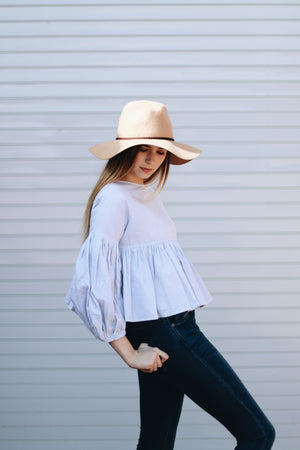 Stay Tuned Striped Ruffle Bubble Sleeve Top