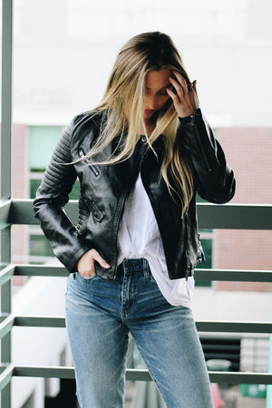 Best Day Ever Quilted Detail Leather Jacket