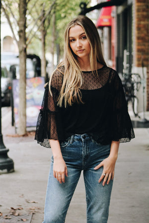 Party Over Here Sheer Lace Top