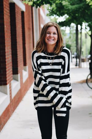 Back On Campus Striped Knit Sweater