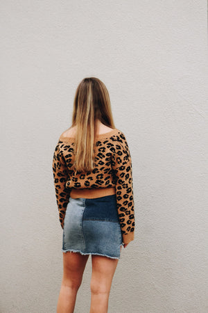 Carried Away Leopard Print Cropped Sweater