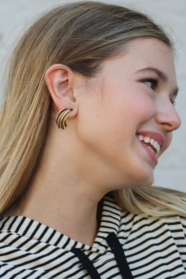 Fan Shape Gold Earring - Savoir-Faire | Women's Clothing Boutique