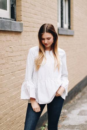 The Little Things Bell Sleeve Striped Top