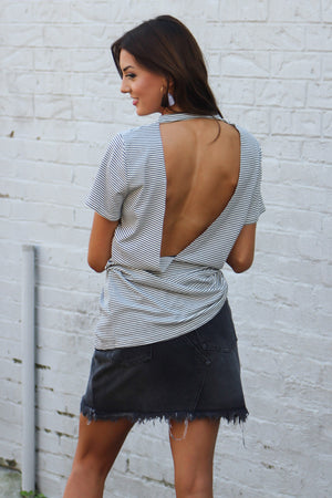 Blurred Lines Ribbed Open Back Tee - Savoir-Faire | Women's Clothing Boutique
