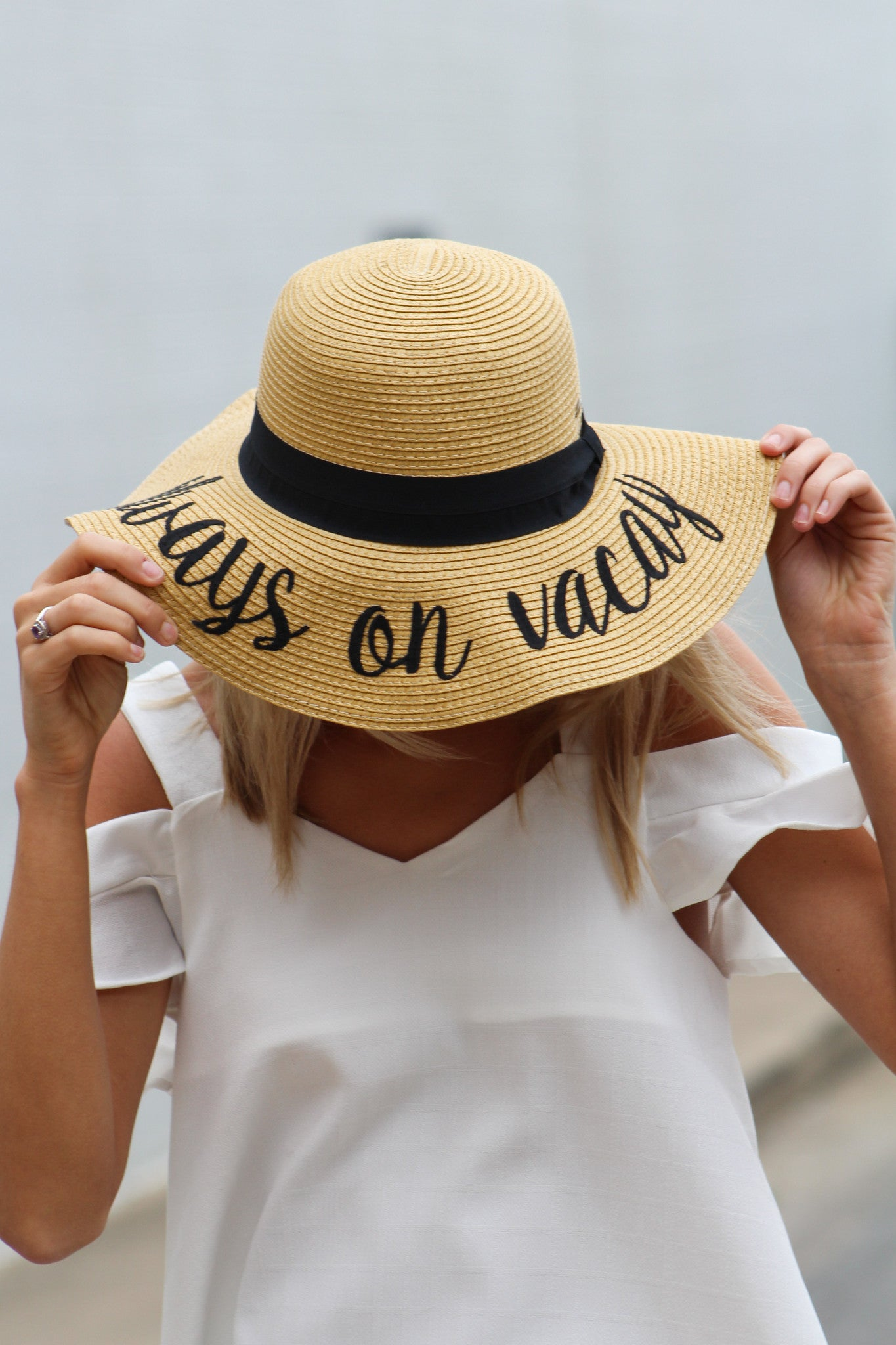 14dceb2fc7589 Quote Embroidered Floppy Hat - Savoir-Faire