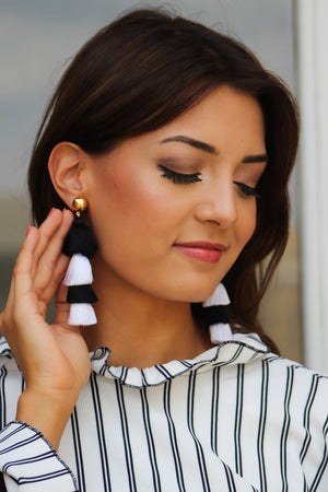 SF Exclusive Black and White Tiered Earring