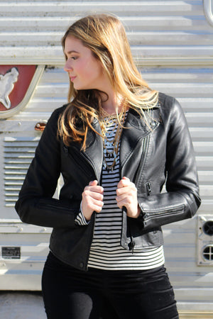 Blank Onyx Leather Jacket - Savoir-Faire | Women's Clothing Boutique