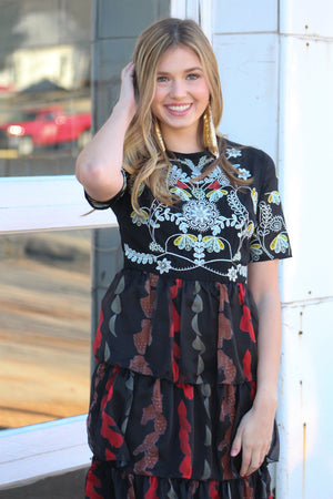 Dark and Stormy Tiered Dress - Savoir-Faire | Women's Clothing Boutique