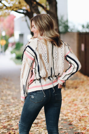 This Feeling Multi Color Fringe Sweater