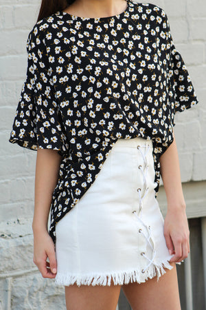 Floral Crazy Boxy Bell Sleeve Top